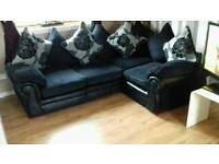 Beautiful black corner sofa delivery available