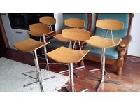 Oak veneer and chrome bar stools