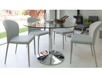 SALE Brand New Danetti Naro (display item) Round Glass 4 Seater Dining Table with Chrome Finish