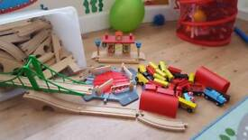 Wooden train set includes Ikea and ELC sets