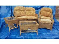 Conservatory whicker 5 piece - 2 seater settee, armchair, footstool, coffee table, occasional table