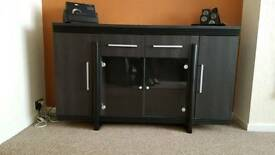 SOLID BLACK DISPLAY CABINET WITH LIGHTING
