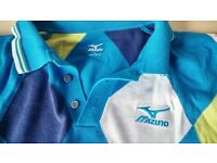 Mizuno Short Sleeve Diamond Pattern Cotton Golf Shirt Blue
