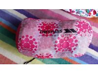 Trespass child's pink flowery sleeping bag