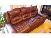 Luxury leather (3 seater) reclining sofa and armchair set