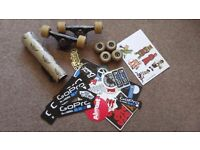 Skate stuff (trucks, wheels, bearings, griptape, stickers, laces)
