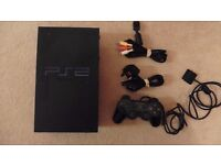 PS2 console, controller and leads