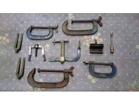 Engineers tools, clamps & old metal tool box