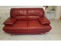 Red Leather 3 seater and 2 seater harveys sofa
