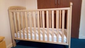 John Lewis Troll Solid Wood Natural Cot with Drop-side and Adjustable Base