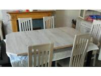 Limed oak 6 seater table and chairs