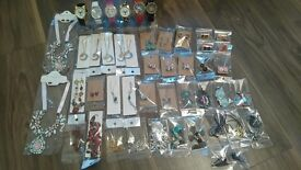 Selection of NEW Jewellery, job lot earrings, watches, necklaces, bracelets, Jewellery clearance
