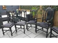 Set of 6 exceptional solid oak vintage dining chairs