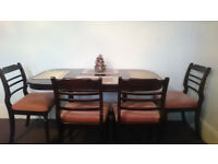Mahogany Dining table and chairs, extendable