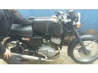 Jawa TS 350 Vintage Motorcycle and Side Car.