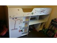 Kids mid sleeper with desk and built in wardrobe