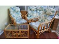 Conservatory furniture 2 single chairs, double sofa and glass top table