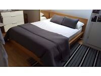 Ikea Malm Bed w/ Mattress & Topper in Excellent Condition