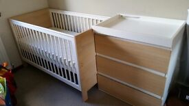 Cot/Bed & mattress never used, Baby change drawers used excellent condition.