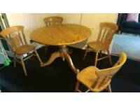 Solid Pine round table and 4 chairs