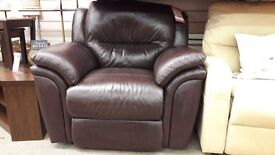 Dark Brown Electric Leather Recliner Armchair