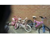 3 girls bikes for sale the two smaller bikes £5 each and bigger girls bike £15