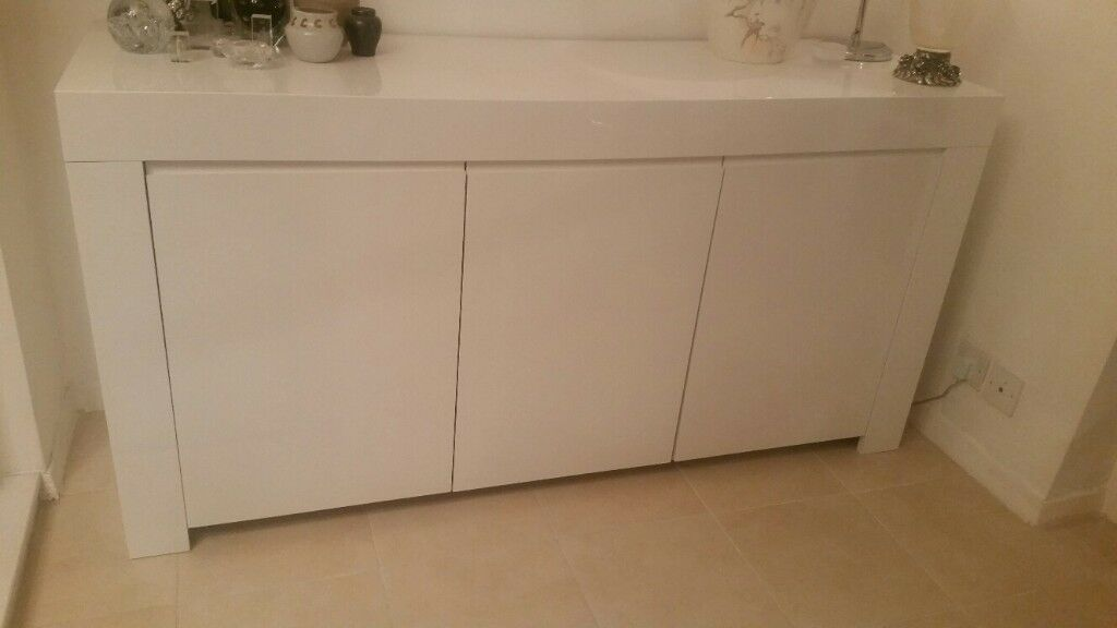 Modern Living / Dining Room Cupboard white shiny finish