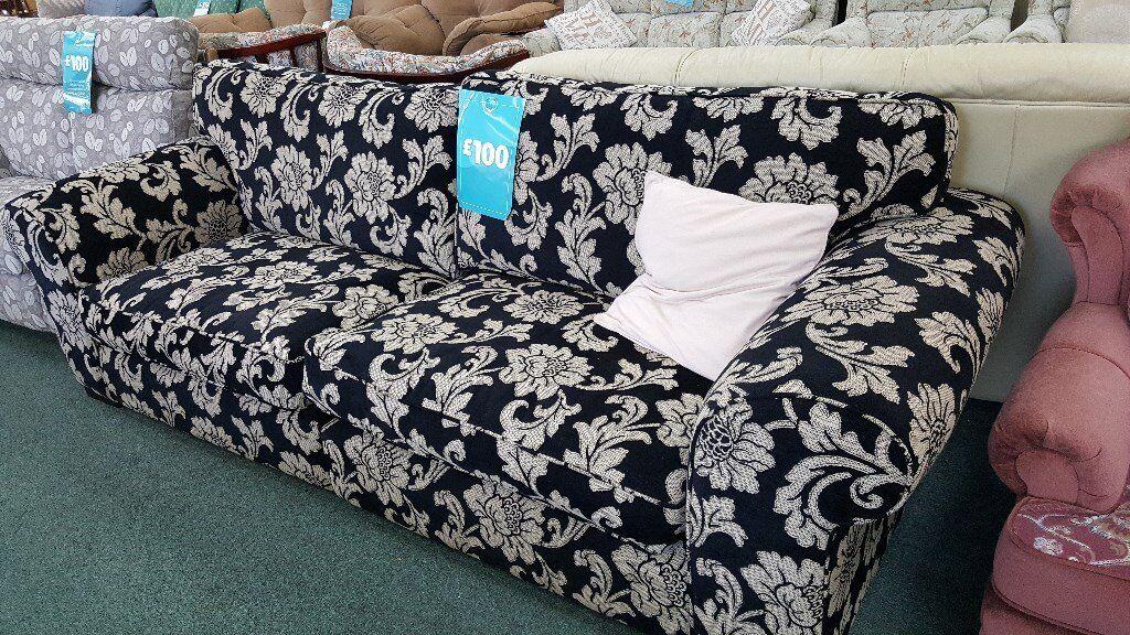 Stunning Large black & cream floral Sofa, 3 or 4 seater