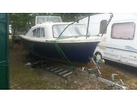 Seamaster cub 17ft boat with Snipe twin axle break back trailer,