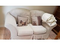 2 seater high arm winged chair