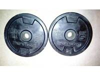 2 x 5kg metal rubber coated weight plates