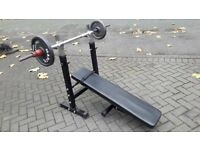 WEIGHTS BENCH WITH DIPS & STRAIGHT BAR & 20KG WEIGHTS