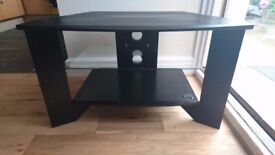 Black TV table with glass shelf