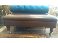 New brown leather footstool