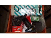 Box of Land Rover Discovery Parts Gaskets Pads pipes etc