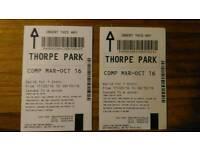 2x adult Thorpe Park tickets