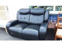 Black Leather 2 Seater Reclining Sofa