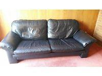 Black leather sofa - 3 seater