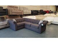 Ex-display DFS Ashby grey fabric corner sofa
