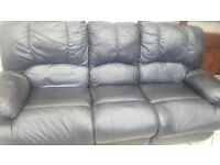 3+2 recliner black leather sofa