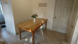 Solid Pine Farmhouse Table With Drawer