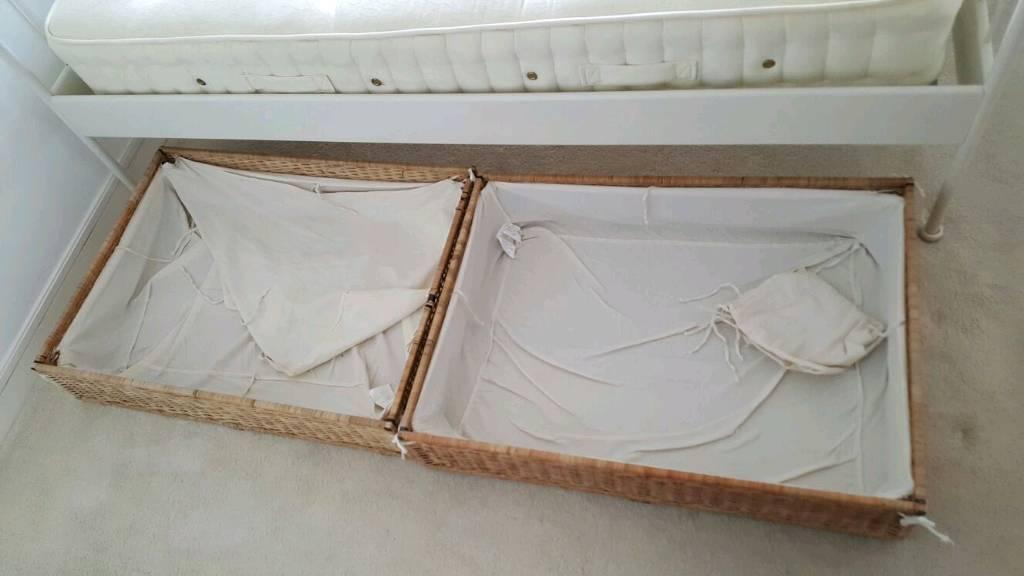 Under bed wicker draws