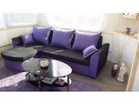 Brand New Modern Fabric Corner Sofa Bed Verona With Storage Box Left Right Hand