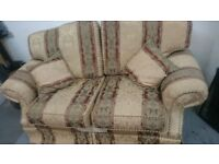 3 piece suite 3 large chairs + 1 x double seater sofa
