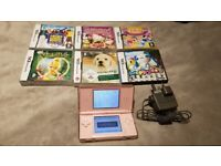 Nintendo DS lite Pink + 6 games and charger and stylus