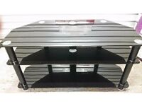 Three tier smoked glass television/media table