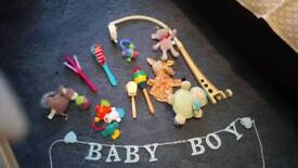Baby boys rattles, other items