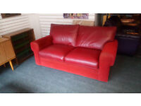 RED LEATHER AND FABRIC DOUBLE SOFA BED REALLY GOOD QUALITY USED TWICE ONLY AS A BED VERY COMFY