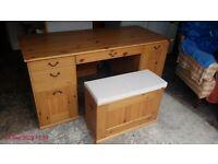 Pine Desk with Matching Storage Stool