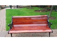BEAUTIFUL REFURBISHED GARDEN BENCH WITH CAST IRON ENDS